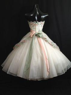 Vintage 1950's 50s STRAPLESS Emma Domb White Pink by VintageVortex