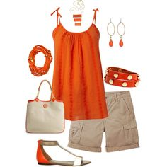 orange + khaki, created by maggiesuedesigns on Polyvore