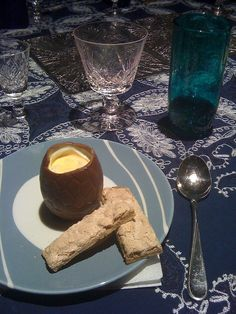 I made the Easter egg idea on my food board myself but added cinnamon soldiers in a crunchy biscuit with a meringue glaze. Guests loved it. My egg yolk was not as yellow so not as good - and I could not make myself discard the passionfruit seeds. I also used sour cream, lemon, lemon rind and sugar in the filling instead of the one on the recipe.     My eggs were bigger so I heated a pan, turned it off, touched the egg base to it, and stuck it on the plate. It was delicious and guests raved.