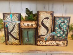 Kiss Sweet Nothing wood block sign by ktuschel on Etsy