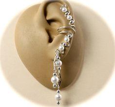 Sterling Silver Ear Cuffs with White Swarovski Crystal Pearls. $34.00, via Etsy.