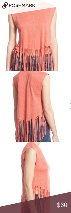 """Rebecca Minkoff Fringe Linen Tee Breezy Linen  t shirt with a fringed hem and sunburst of silvery stud detail. 100% Linen  true to size. Length is about 19"""" length of fringe 8.5""""   The color is coral Rebecca Minkoff Tops Tees - Short Sleeve"""