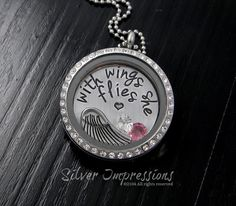 With wings she flies Necklace / Floating Locket / Memory Locket Remembrance Jewelry by SilverImpressions on Etsy https://www.etsy.com/listing/179137940/with-wings-she-flies-necklace-floating