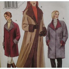 Reversible Coat Pattern Princess Seams Flip Back by VogueVixens, $10.00