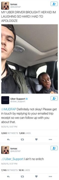 Snitches Don't Get 5-star Passenger Ratings