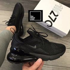 Black Air Max 270 Buy the latest sports shoes and urban clothing at The 3 Jays. Buy the hottest styles from Nike, Adidas, Jordan, Converse & more. Black Nike Shoes, Nike Air Shoes, Nike Tennis Shoes, Black Sneakers, Sports Shoes, All Black Nikes, Nike Socks, Nike Air Max Black, Shoes Sport