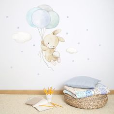 decorate shop Do you want to decorate your baby's room? this fabric wall decal is ideal for babies and children rooms, soft and tender colors that will transform the room into an atmosph Nursery Wall Decals, Nursery Room, Baby Boy Rooms, Baby Room, Deco Kids, Bubble Art, Paint Effects, Textured Walls, Vinyls