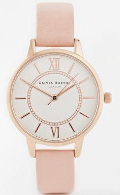 Montre en acier rose ecran blanc bracelet en cuir rose Olivia Burton