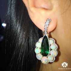"""Karen Suen Fine Jewellery (@karensuenfinejewellery) on Instagram: Tourmaline, Opals, Diamonds and Pearl earrings from our latest """"Colourful Collection""""."""