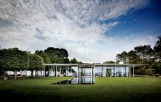 A glass pavilion on Fishers Island, New York. Architecture by Thomas Phifer and Partners, photography by Scott Frances for Architectural Digest.