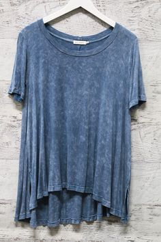 Back To The Beginning Blue Acid Wash Short Sleeve Tee