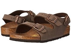 - They're sure to have happy feet when they wear the Roma. - Birko-Flor™ upper is made of acrylic and polyamide felt fibers to create a soft fabric with a leather-like finish. - Three buckle closure e