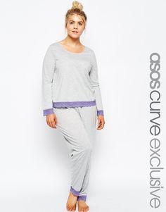 9387b79d11 Image 1 of ASOS CURVE Lace Trim Long Sleeved Top   Leggings Pajama Set  Pyjamas