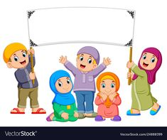 A family are playing and holding blank banner Vector Image Kids Background, Valentines Day Background, Classroom Background, Islamic Posters, Islamic Art, Girl Reading Book, Reading Books, Blank Banner, Islamic Cartoon