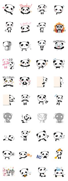 Kawaii panda poses. (Inspiration).