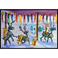 Caroline's Treasures Corgi Log Reindeer Race Christmas Doormat Rug Size: