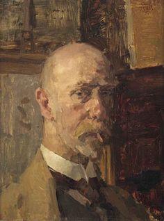 blastedheath: Isaac Israels (Dutch, 1865-1934), Self portrait with cigarette, 1917. Oil on panel, 40 x 30 cm.