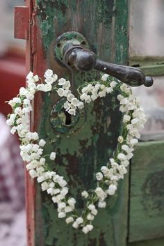 lily of the valley heart wreath-idea for next May when they bloom again. I Love Heart, Happy Heart, Tiny Heart, Heart Wreath, Heart Garland, Lily Of The Valley, Heart Art, Happy Valentines Day, Valentine Heart