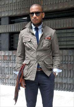 Taupe Safari Jacket, Navy Chinos, and Tie. Gentleman Mode, Gentleman Style, Mode Masculine, Jeans En Cuir, Light Blue Dress Shirt, Best Street Style, Safari Jacket, Herren Outfit, Field Jacket