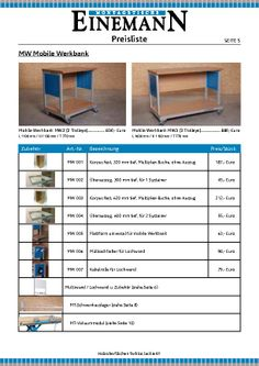 Einemann Assembly Tables Price List, Page 5