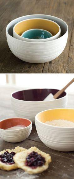 Beautiful nesting bowls by Pigeon Toe Ceramics