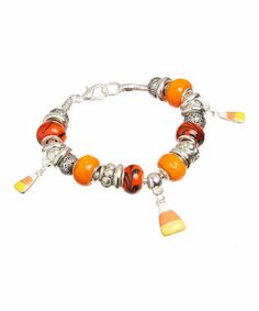 Love this Silver & Orange Candy Corn Beaded Bracelet on #zulily! #zulilyfinds