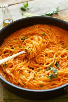 Vegan and gluten free Roasted red pepper spaghetti. Watch your back, tomato sauce. Get the recipe from Minimalist Baker.