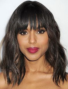 hairstyles with bangs for african americans   Length Wavy Haircuts With Bangs For African American Women ...