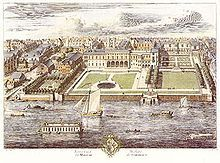 The original Somerset House, Strand, in 1722. It was built by Edward Seymour, Duke of Somerset between 1547 and 1549.