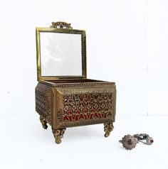 vintage filigree jewelry or trinket box gold tone red by DrVintage