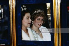The Princess of Wales and the Queen attend the Opening of Parliament in London, November 1982. Diana is wearing a white fur coat and the Spencer tiara. (Photo by Terry Fincher/Princess Diana Archive/Getty Images)