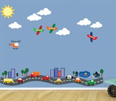 REUSABLE Road with Cars Planes TRANSPORTATION by StudioWallArt, $98.00