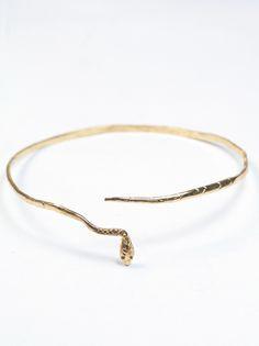 "Gorgeous 14k gold ""Eva the Snake"" bangle for $945 via Macha Jewelry"
