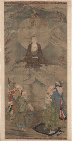 Zhou Jichang (Chinese, second half of century). The transfiguration of a luohan 五百羅漢圖軸:雲中示現 (周季常). Ink and color on silk, Southern Song dynasty, about 1178 Chinese Artwork, Chinese Painting, Japanese Buddhism, The Transfiguration, Buddha Art, China Art, Old Paintings, Ancient China, 12th Century