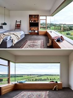 Windows Discover This Rural Home Combines Rustic Interior Elements With Modern Architecture In this modern bedroom a large window perfectly frames the view while a wood bench has been built to create a space to sit and relax. Home Interior Design, Interior Architecture, Interior Modern, Interior Livingroom, Architecture Today, Interior Ideas, Japanese Interior, Rural House, Farm House