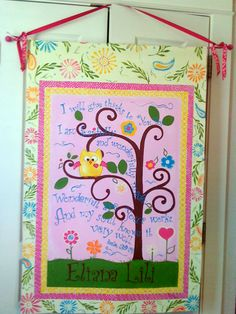 This is a tapestry, by Illustrated At, completed for a little girl's nursery that coordinates with Kidsline™ Dena Happi Tree Crib Bedding Set. This is such a sweet memorable gift for a nursery!