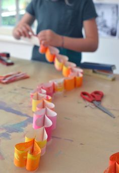 heart paper chain ~ kid made with watercolors