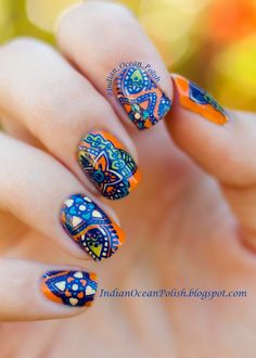 Moyou explorer 03 - Indian Ocean Polish: Stained Glass Homemade Nail Decals With MoYou London Explorer Collection Plate 03 Nail Art Designs Images, Fall Nail Designs, Nail Polish Designs, Cute Nail Designs, Nails Design, Fabulous Nails, Great Nails, Cute Nails, Beautiful Nail Designs