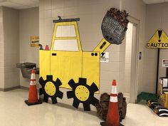 Construction classroom/hallway theme for fourth grade ; scho… Construction classroom/hallway theme for fourth grade ; Construction Theme Preschool, Under Construction Theme, Construction Party Decorations, Construction Crafts, Construction Birthday Parties, School Decorations, Vbs Themes, Bible School Crafts, Vbs Crafts