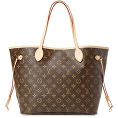 Louis Vuitton Women's Vintage Monogram Canvas Neverfull NM MM - Brown (5.065 RON) ❤ liked on Polyvore featuring bags, brown, brown canvas bag, handle bag, louis vuitton bags, vintage canvas bag and vintage bags