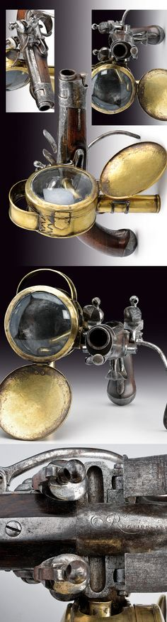 Attached lantern. French, c. 1800. Probably the most steampunk pistol ever made. Steampunk Pistol, Flintlock Pistol, Steampunk Accessories, Steampunk Design, Cool Guns, Guns And Ammo, Firearms, Hand Guns, Arsenal
