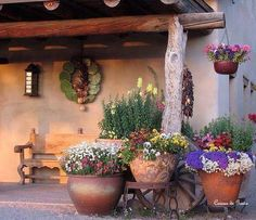 Lawn & Garden : Spanish Garden Decor Style With Log Pergola Also Clay Planters And Flowers The Spanish Style Gardens Ideas for Small Spanish House Spanish Backyard Design' Unique Garden Decor Ideas' Rustic Spanish Decor Ideas as well as Lawn & Gardens Spanish Backyard, Spanish Garden, Adobe Haus, Mexican Garden, Mexican Courtyard, Mexican Patio, Mexican Hacienda, Santa Fe Style, Spanish Style Homes