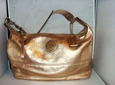 100% AUTHENTIC COACH ANTIQUE GOLD LEATHER HOBO HANDBAG SIGNATURE STITCH $328.00.  www.jewelsgemspriceless.com