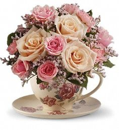 Send warm wishes with this lovely gift bouquet that arrives in a ceramic teacup. This charming, old-fashioned bouquet features pink and crème roses. Cream roses, pink spray roses.