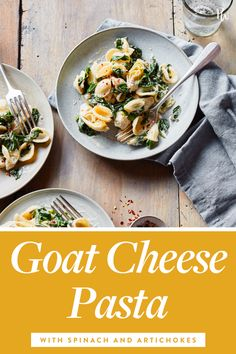 Goat Cheese Pasta with Spinach and Artichokes #food #cheese #recipe #dinner #vegetarian #pasta #main course #easy #under 500 calories #under 30 minutes