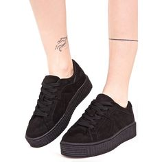 Black Vegan Suede Creeper Sneakers ($38) ❤ liked on Polyvore featuring shoes, sneakers, black shoes, black trainers, suede lace up shoes, lacing sneakers and faux leather sneakers