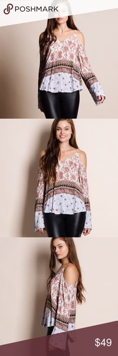 """""""Hummingbird"""" Printed Cold Shoulder Top Printed cold shoulder top. This is an ACTUAL PIC of the item - all photography done personally by me. Model is 5'9"""", 32""""-24""""-36"""" wearing the size small. NO TRADES DO NOT BOTHER ASKING. 100% rayon. Bare Anthology Tops Blouses"""