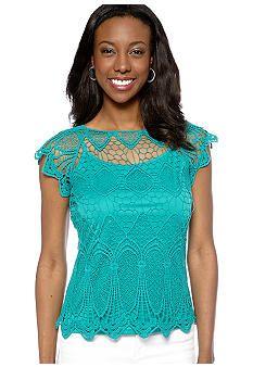 Madison Short Sleeve Lace Top - Belk.com