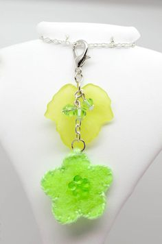 Neon Nature - Silver plated pendant with acrylic and glass beads, acrylic felt and cotton thread by BiancaFerrando on Etsy