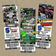 Monster Truck Birthday Party Ticket Style Invitations Digital Delivery - U Print on Etsy, $14.99